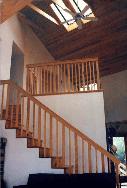 Stair, loft, skylight.